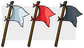 Cartoon colored pirate flags on wooden stick