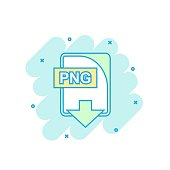 Cartoon colored PNG file icon in comic style. Png download illustration pictogram. Document splash business concept.