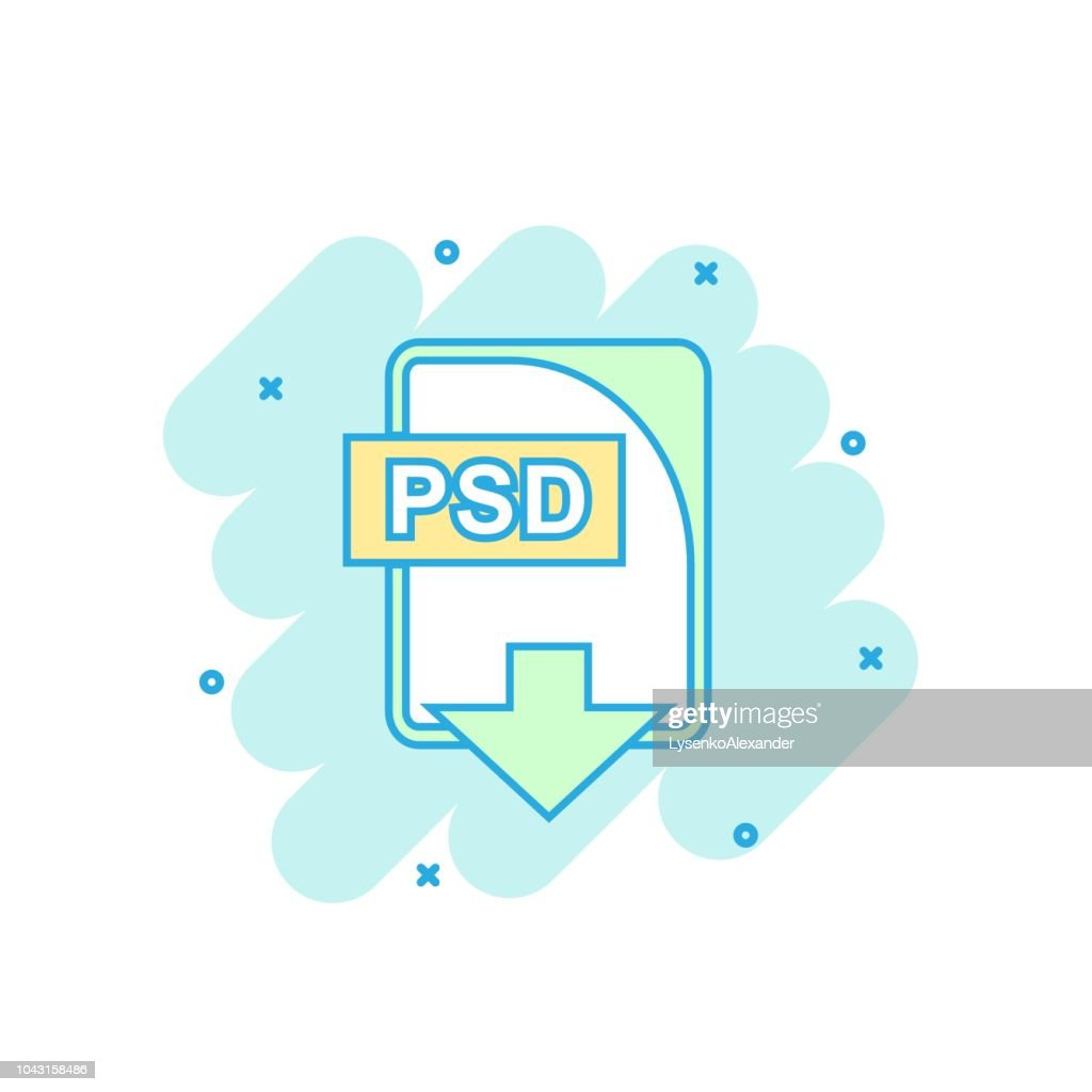 Cartoon colored PSD file icon in comic style. Psd download illustration pictogram. Document splash business concept.