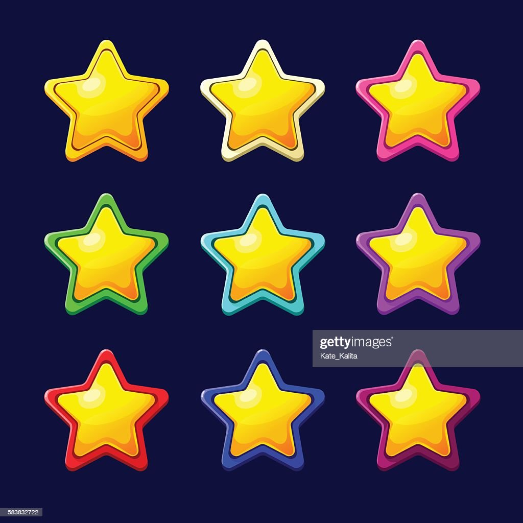Cartoon colorful glossy Star