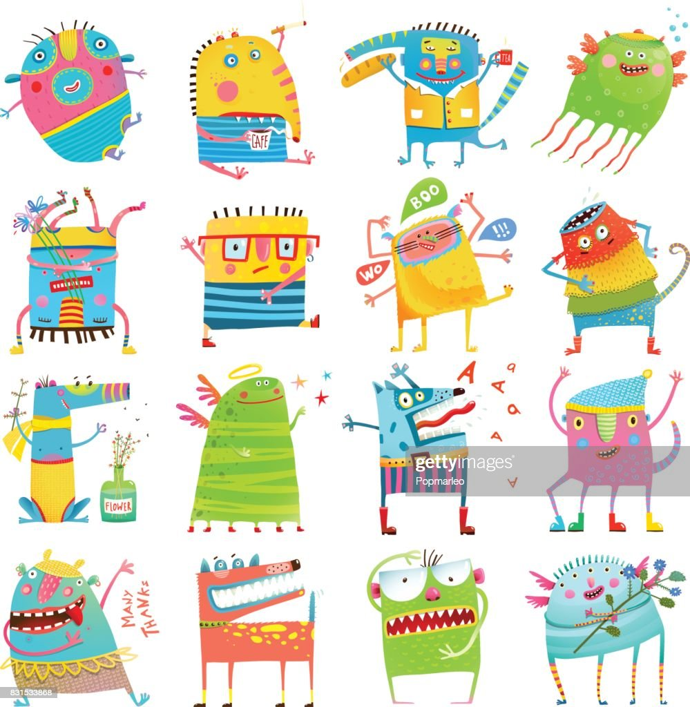 Cartoon colorful Monsters for Kids Big Collection