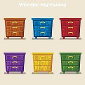 cartoon colorful wooden nightstand in vector
