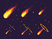 Cartoon Comet Effect Stages Set. Vector