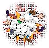 Cartoon Comic Book Fight Dust Cloud