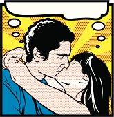 Cartoon comic book kiss characters