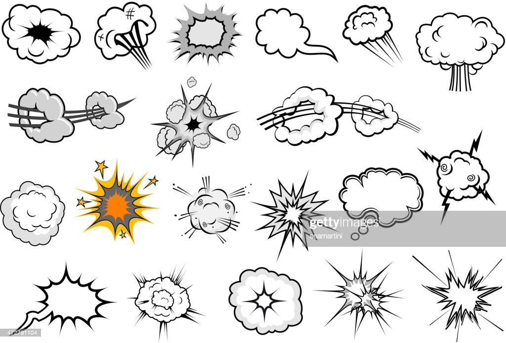 Cartoon comic explosion and speech elements