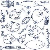 Cartoon comic fish line drawings