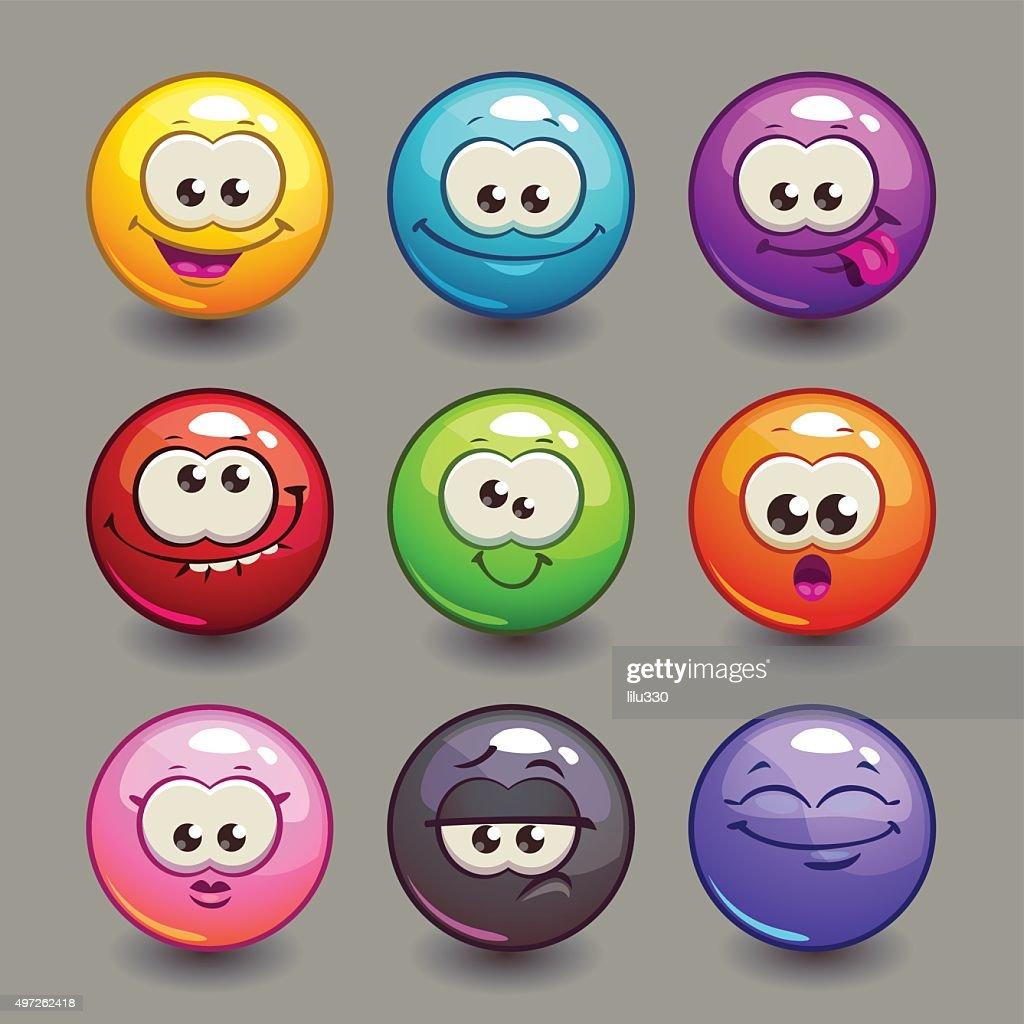 Cartoon comic round faces set