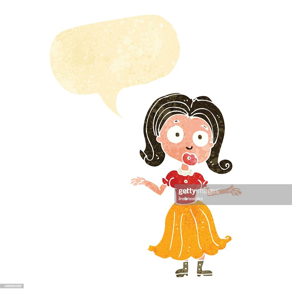Cartoon Confused Girl With Speech Bubble Stock Vector Getty Images