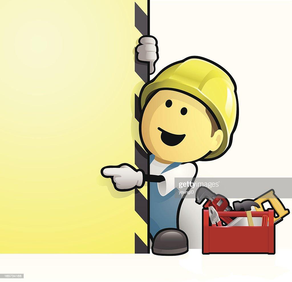 Comic Bauarbeiter Mit Schild Vektorgrafik Getty Images