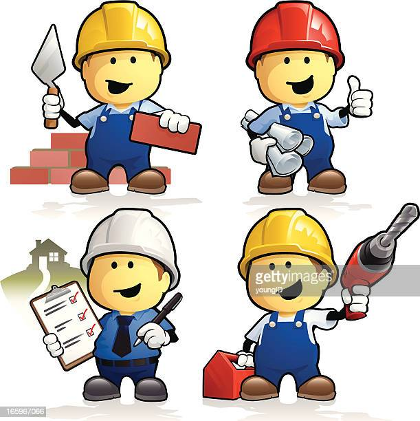cartoon construction workers and contractors - contractor stock illustrations, clip art, cartoons, & icons