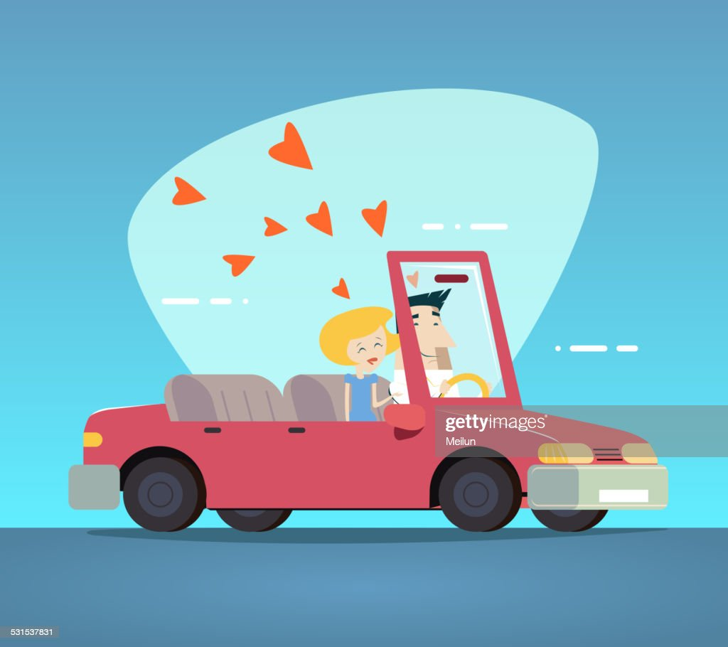 Cartoon Convertible Car Happy Male and Female Couple Love Characters