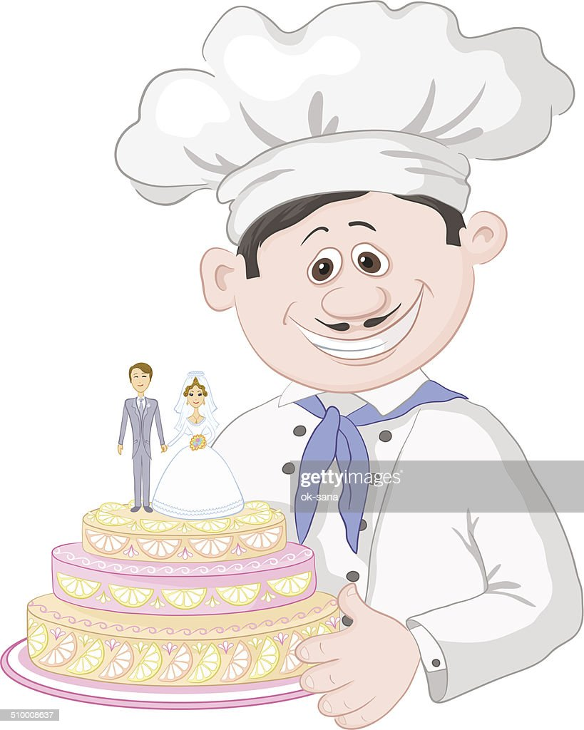 Cartoon Cook With Holiday Wedding Cake Vector Art   Getty Images