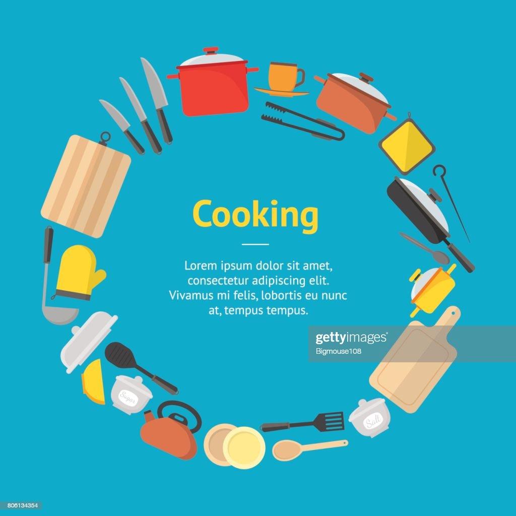 Cartoon Cookware Banner Card. Vector