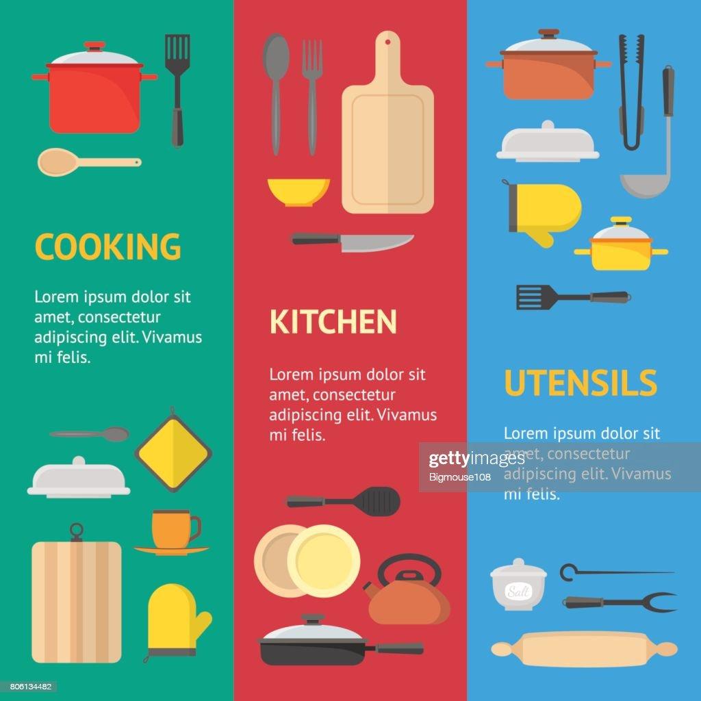 Cartoon Cookware Banner Vecrtical Set . Vector