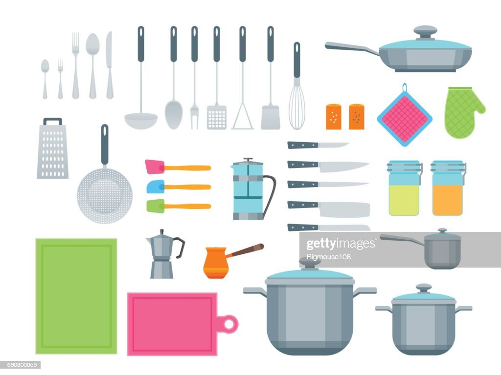 Cartoon Cookware Color Icons Set. Vector