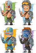 Cartoon cool cyborg soldier with metal arm character vector set