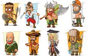 Cartoon cool funny different characters vector set