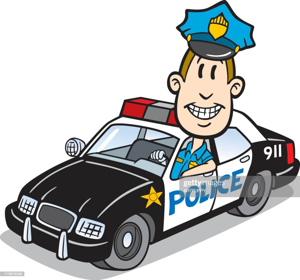 Cartoon Cop In Police Car Stock Vector