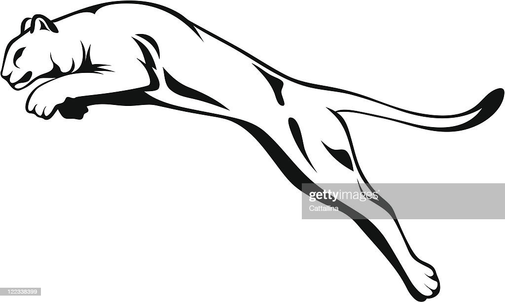 Cartoon cougar jumping in black and white