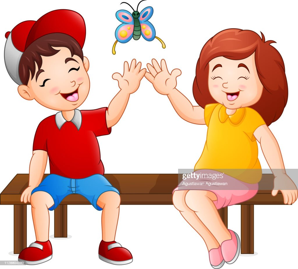 Cartoon couple sitting on the bench playing butterflies