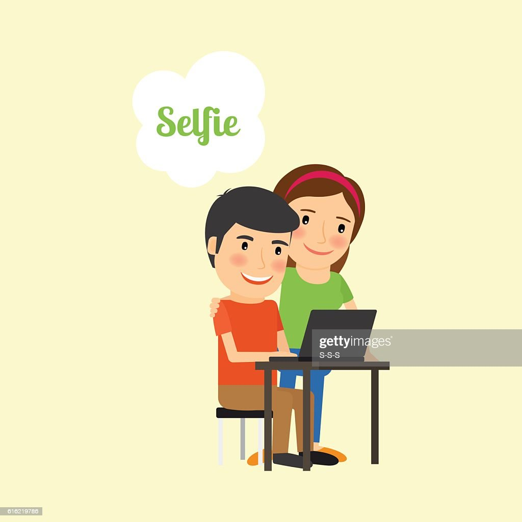 Cartoon couple taking selfie : Vektorgrafik