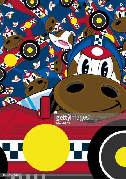 cartoon cow racing car driver pattern - race car driver stock illustrations, clip art, cartoons, & icons