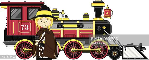 Cartoon Cowgirl & Train