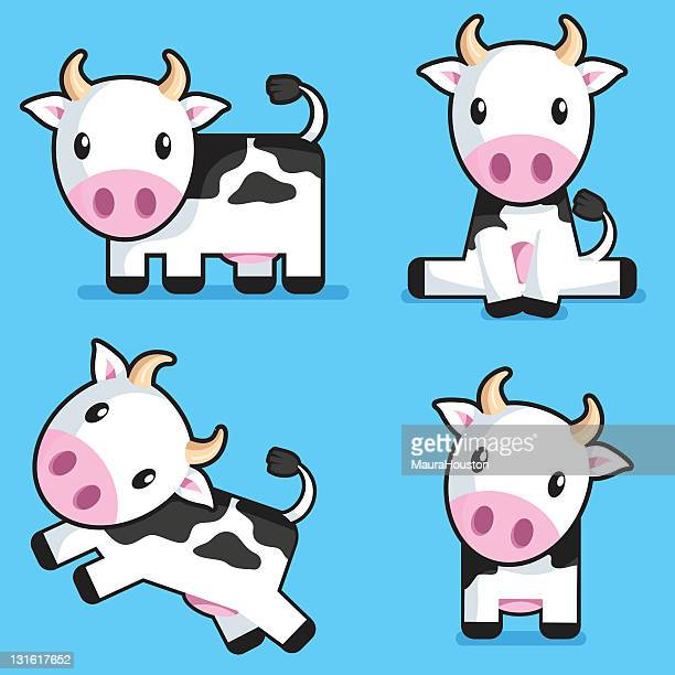 cartoon cows on blue background - cute stock illustrations
