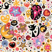 cartoon creatures pattern