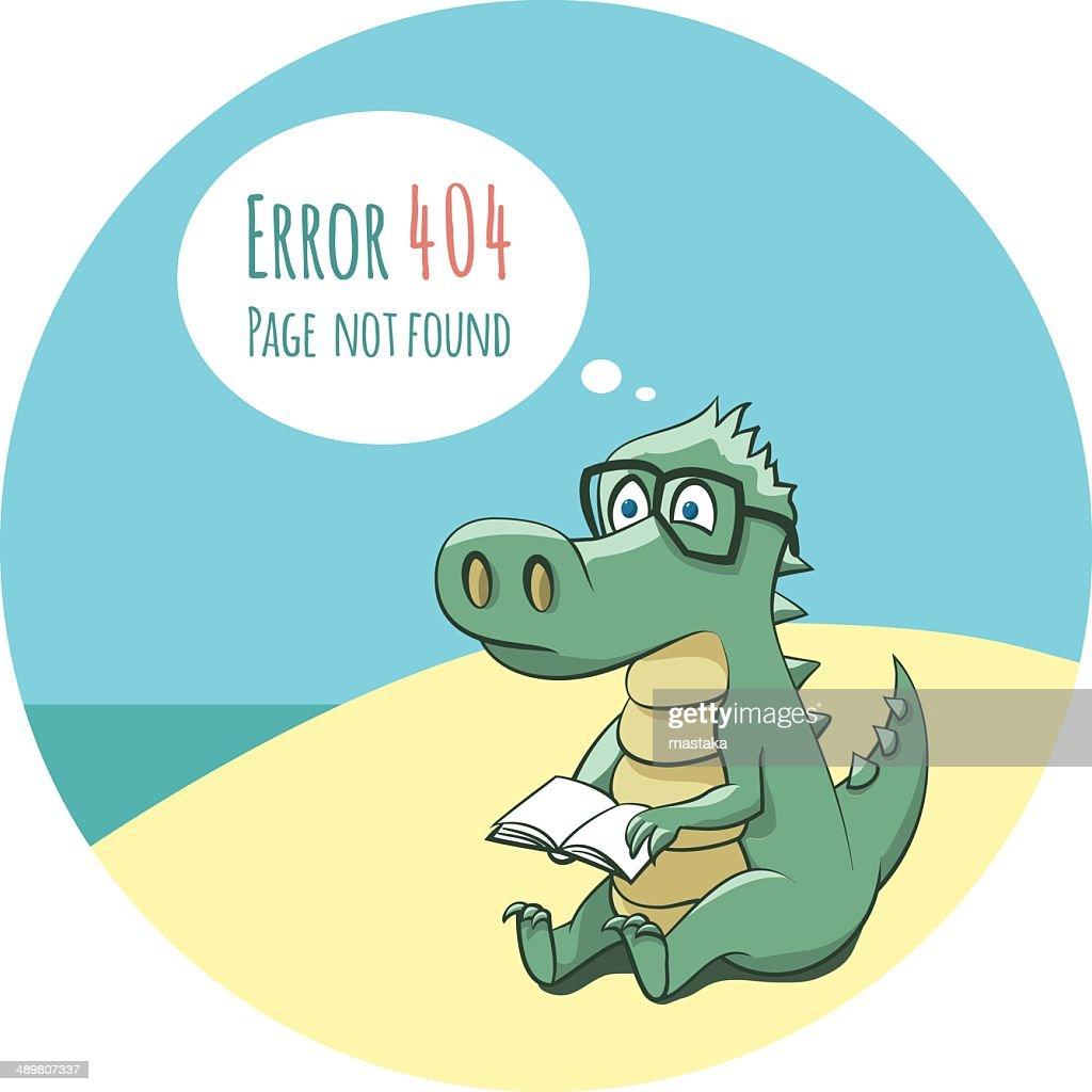 Cartoon crocodile with book and error message