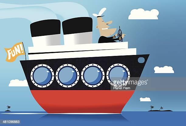 Cartoon cruise ship