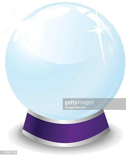 A cartoon crystal ball on blue stand