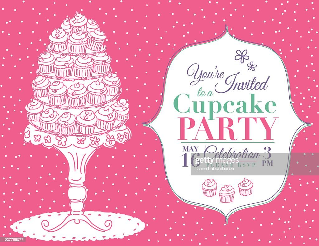 Cartoon Cupcake Party Invitation Template Pink Vector Art | Getty ...