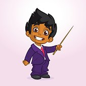 Cartoon cute afro-american  boy businessman presenting with pointer. Vector illustration of arab or indian boy presenting