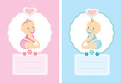 Cartoon cute baby cards, background template