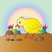 Cartoon cute chicken with worm.