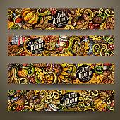 Cartoon cute colorful vector hand drawn doodles Fall season corporate identity