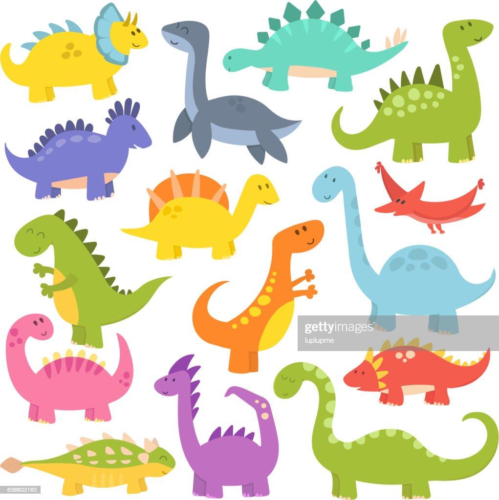Cartoon cute dinosaurs vector.