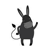 Cartoon cute donkey small horse