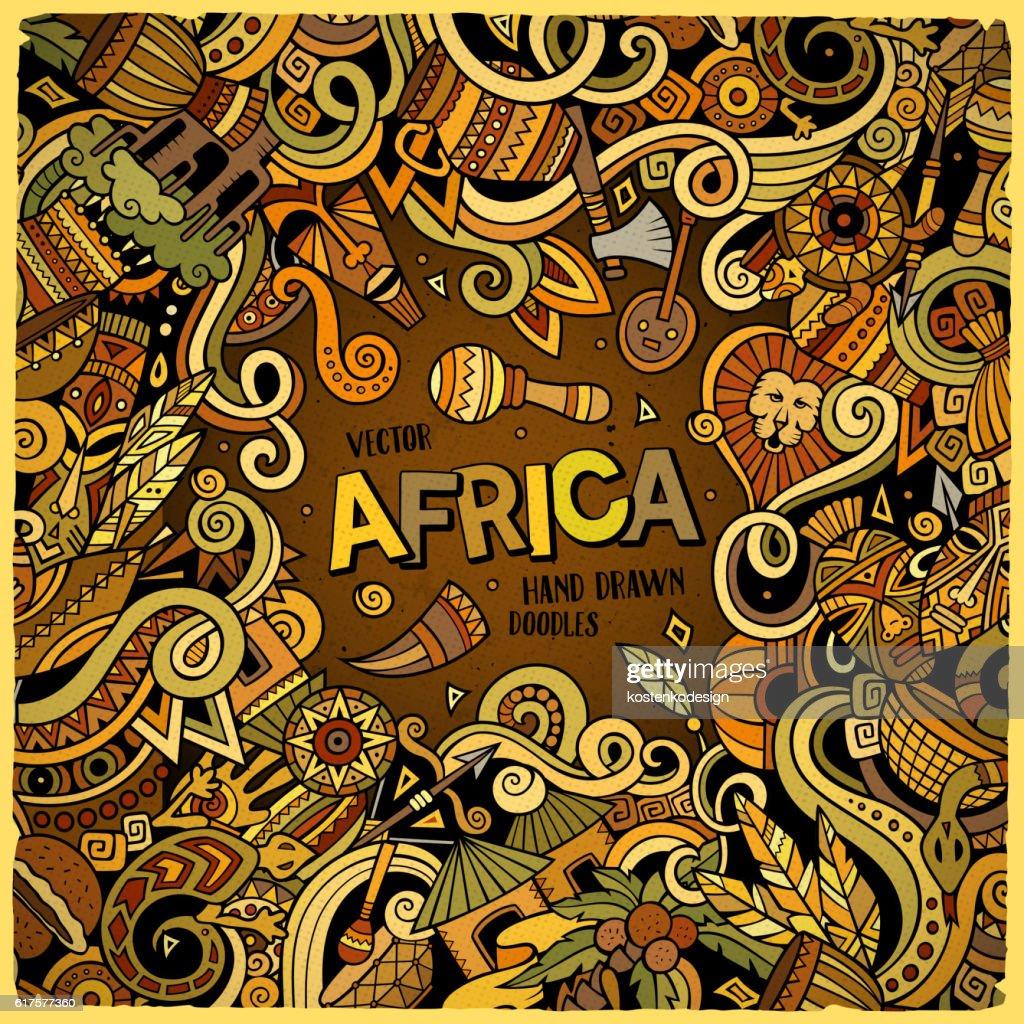 Cartoon cute doodles Africa frame