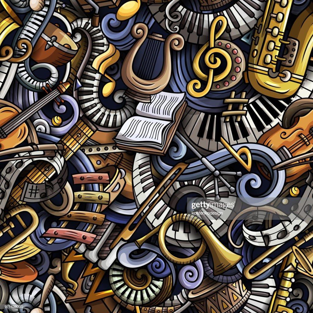 Cartoon cute doodles Classical music seamless pattern