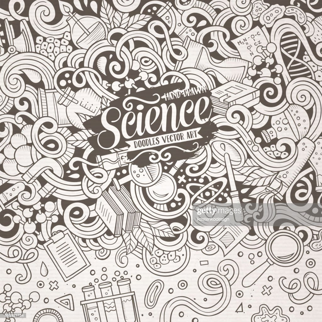 Cartoon Cute Doodles Science Frame Illustration Vector Art | Getty ...