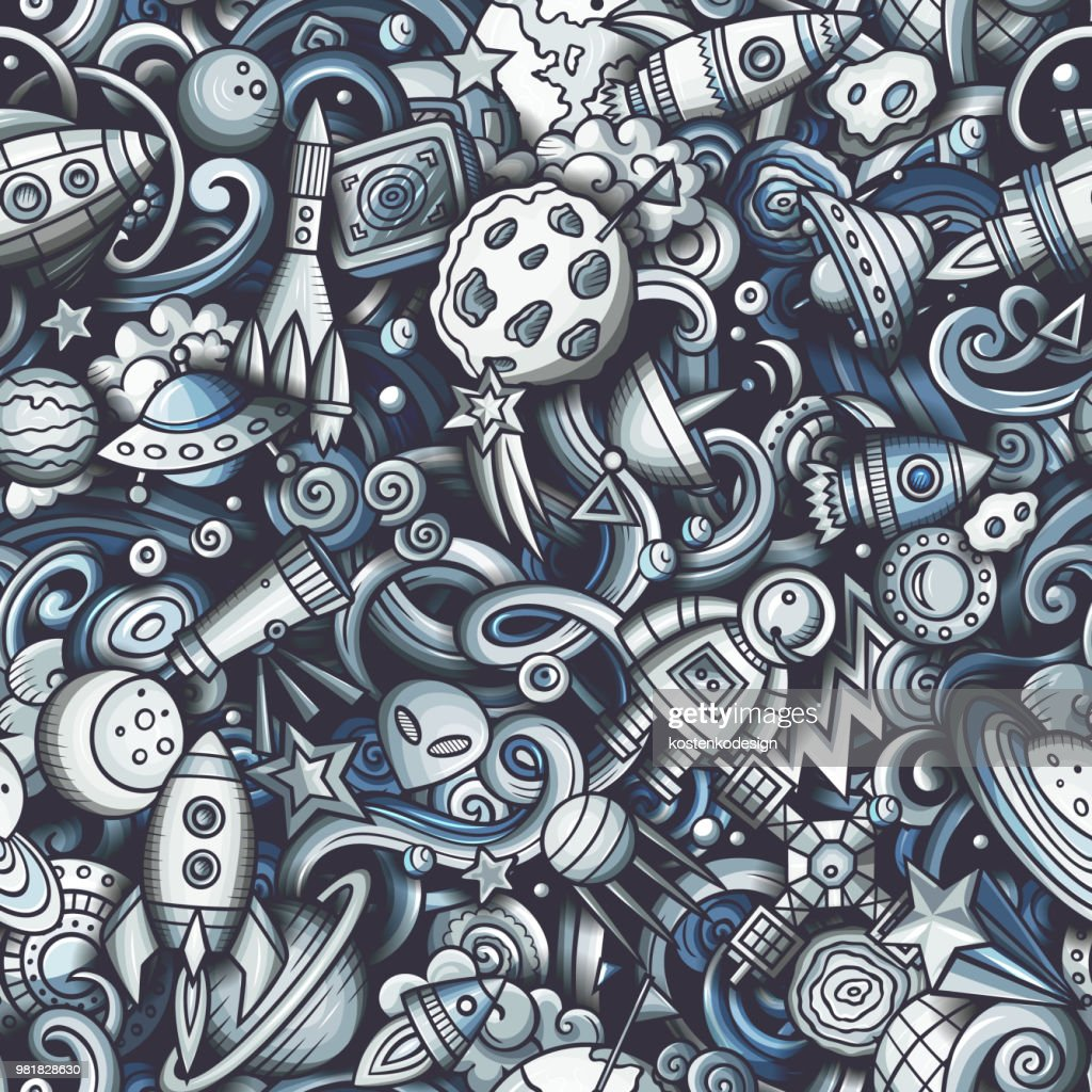 Cartoon cute doodles Space seamless pattern