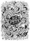 Cartoon cute doodles traveling illustration
