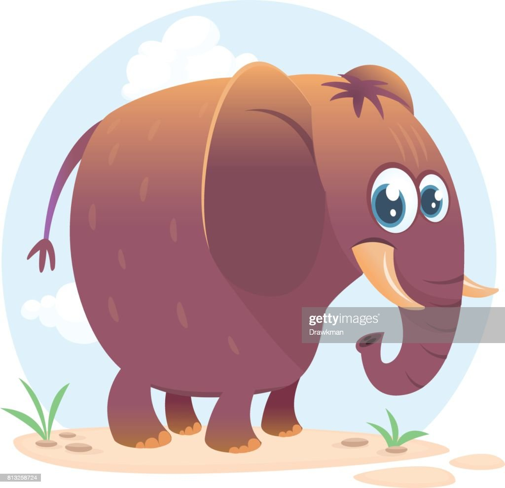 Cartoon cute elephant. Vector illustration or icon isolated