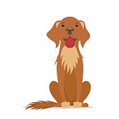 Cartoon cute, friendly big brown dog sitting straight, front view