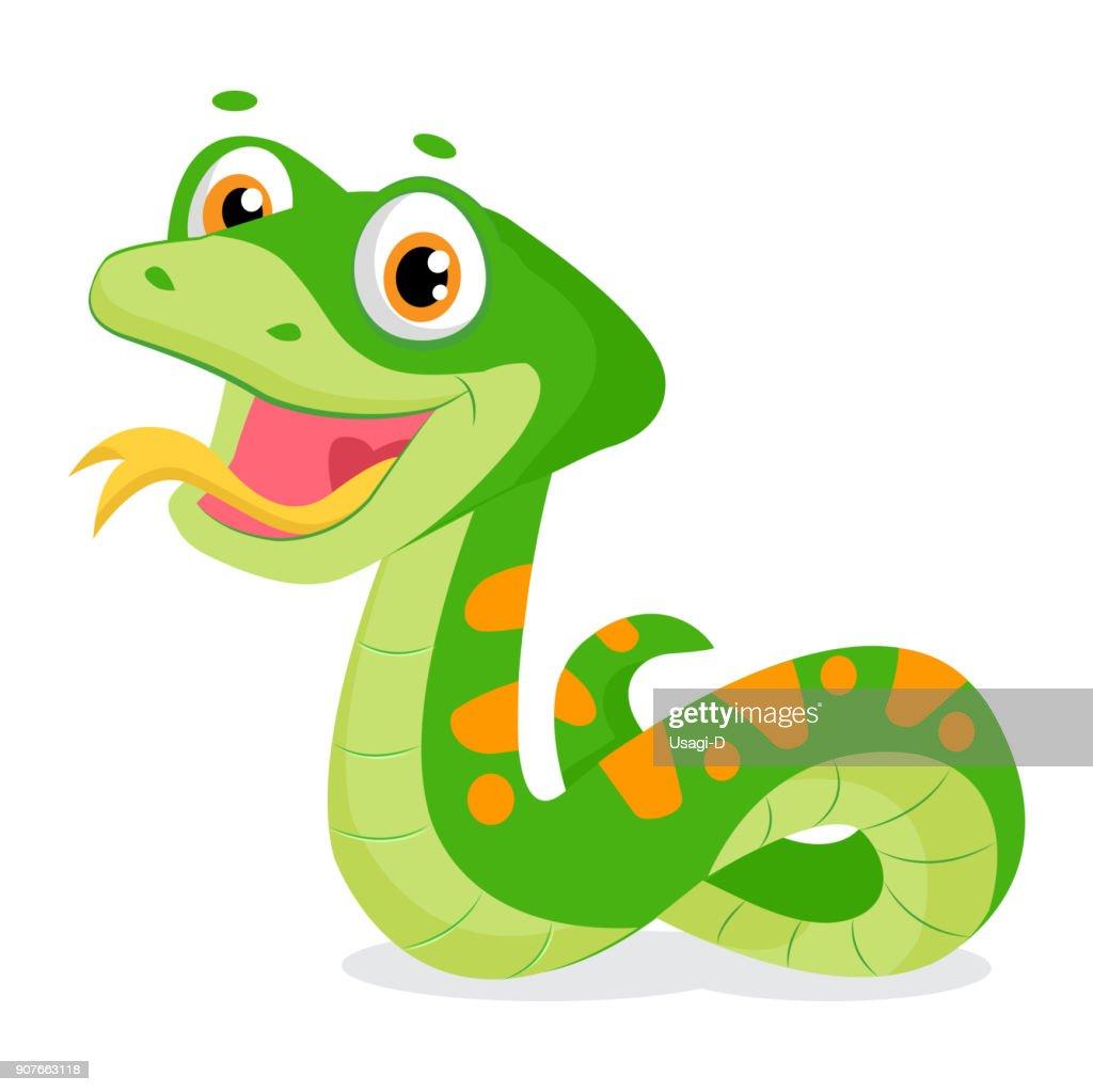 Cartoon Cute Green Smiles Snake Vector Animal Illustration.