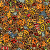 Cartoon cute hand drawn Autumn seamless pattern