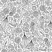 Cartoon cute hand drawn Picnic seamless pattern